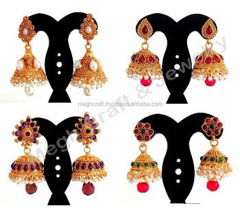 77e27a2cf5 ONE GRAM GOLD BIG JHUMKA EARRINGS-WHOLESALE SOUTH INDIAN PEARL JHUMKA  EARRINGS-INDIAN ETHNIC