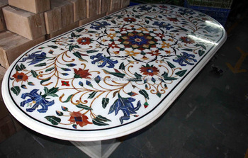 Oval Gemstone Inlaid Marble Dining Table Top Pietra Dura Exclusive