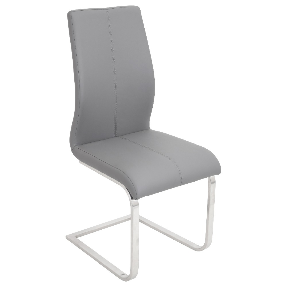 Faux leather upholstered dining side chair with chromed legs