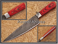 Kestrel Cool Red-I Custom Handmade Damascus Steel Full Tang Kitchen/Chef Knife.
