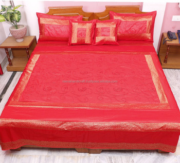 5 Piece Traditional Embroidery 100 % Silk Home Double Bed Cover Bedding Cover