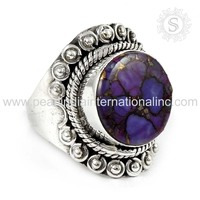 High Quality Purple Copper Turquoise Ring Wholesale Jewelry 925 Sterling Silver Ring Jewelry Handmade Jewelry Supplier