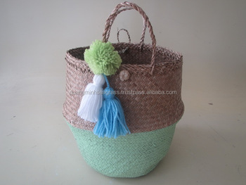 Stylish Natural Seagrass Belly Basket With Pom Pom High Quality ...