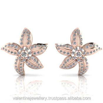 Crafted In Rose Gold Star Fish Cer Diamond Earrings For S