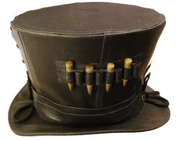 Steampunk madhatter Hand made Leather Top Hat with metal bullet detail c708380a61c
