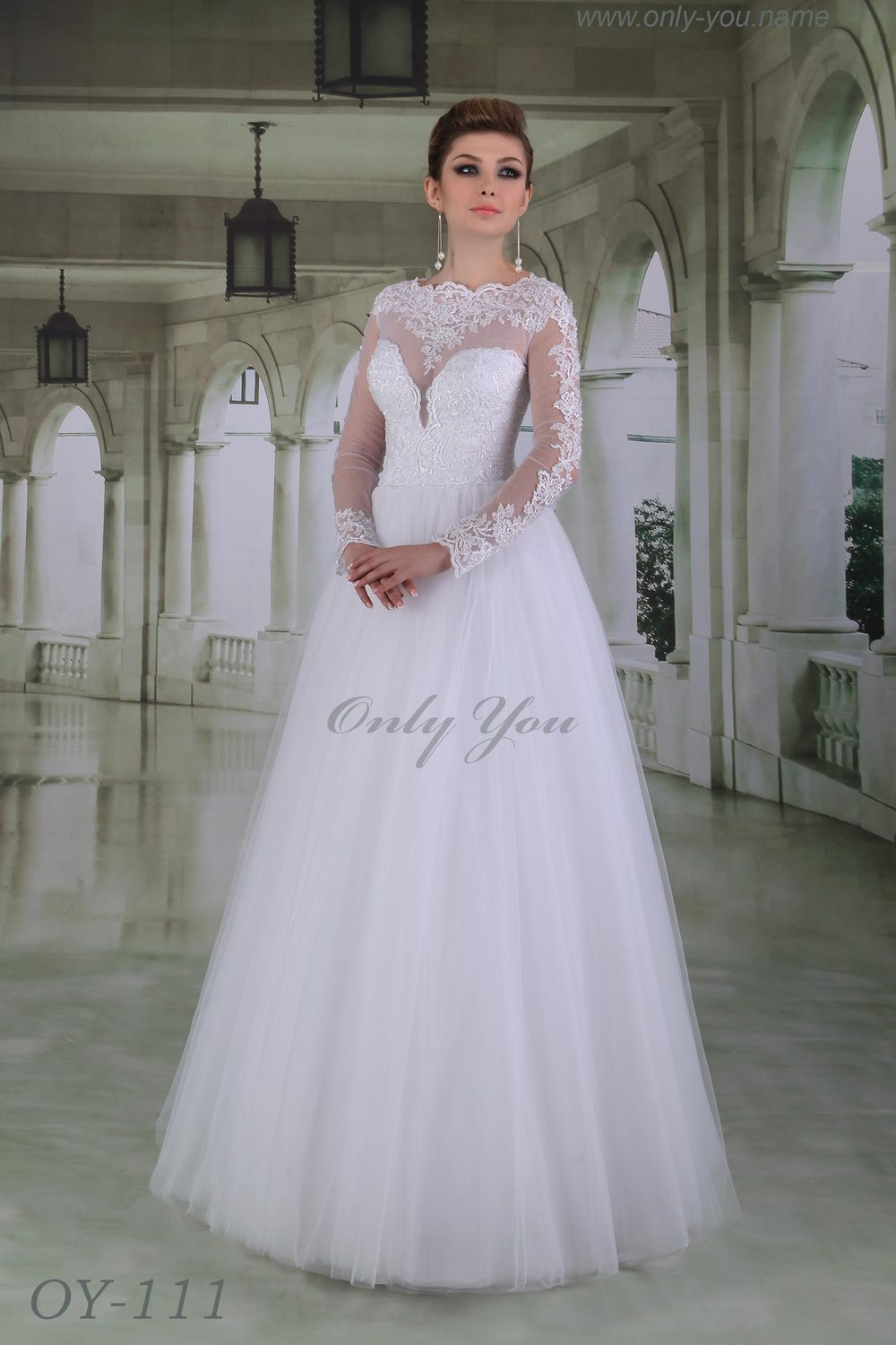 Admirable Wedding Dress High Neck Long Sleeves Floor Length Tulle Skirt Beaded Hand Made Emboridery