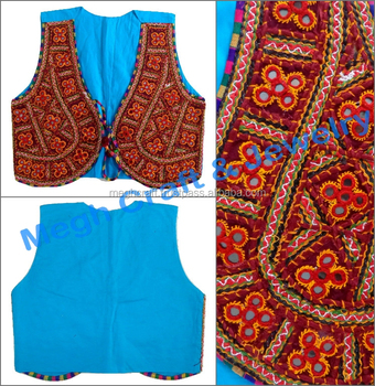 Gujarati Navratri koti-Indian Handmade ladies cotton sleeveless Jacket-Wholesale  kutch embroidered Mirror Work