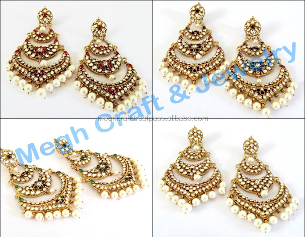 Kundan chandelier earrings-Wholesale Punjabi wedding earrings ...