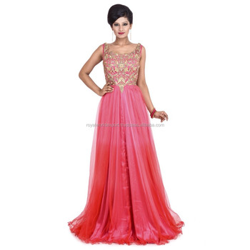 abdccbd769 Indian Party Wear Designer wholesale Pink golden Orange evening dress