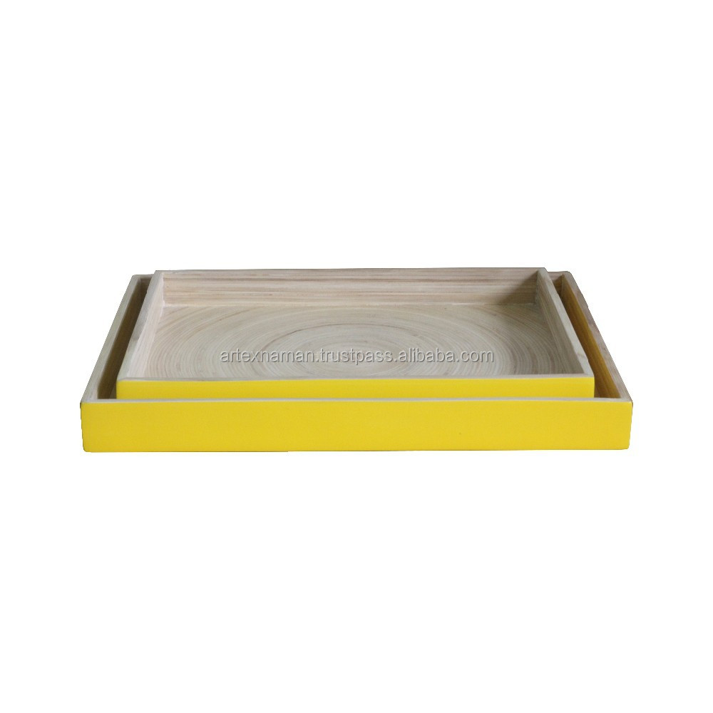 set of two bamboo trays, serving & storage bamboo tray finish with any color from Vietnam