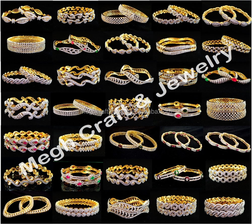 15506924a Exclusive american diamond bangles - Wholesale gold plated cz bangle -  Indian ethnic bollywood style bracelet
