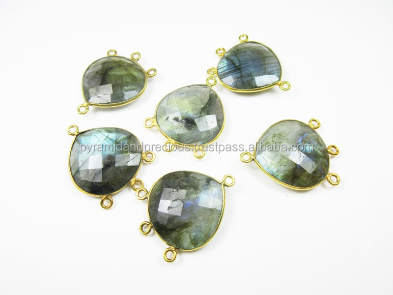 Labradorite Heart Shape Gold Plated Sterling Silver Bezel Gemstone Connectors - 4 Loop Connector
