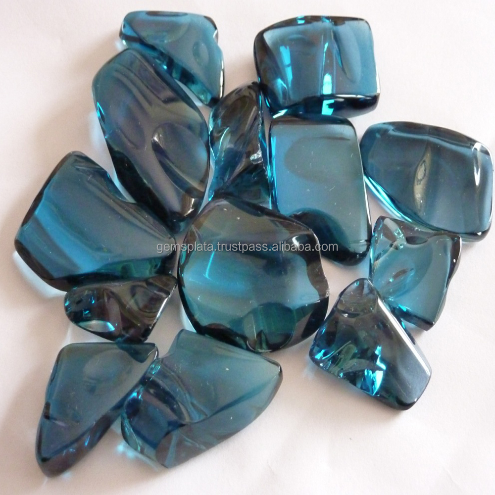 London Blue Topaz Tumbles Stones Faceted Drilled Tumbled