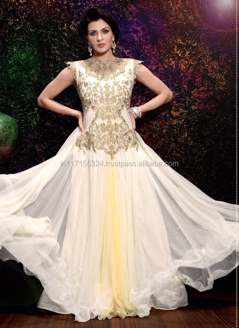 Ladies Long Evening Party Wear Gown-party Wear Net Designer Gowns ...