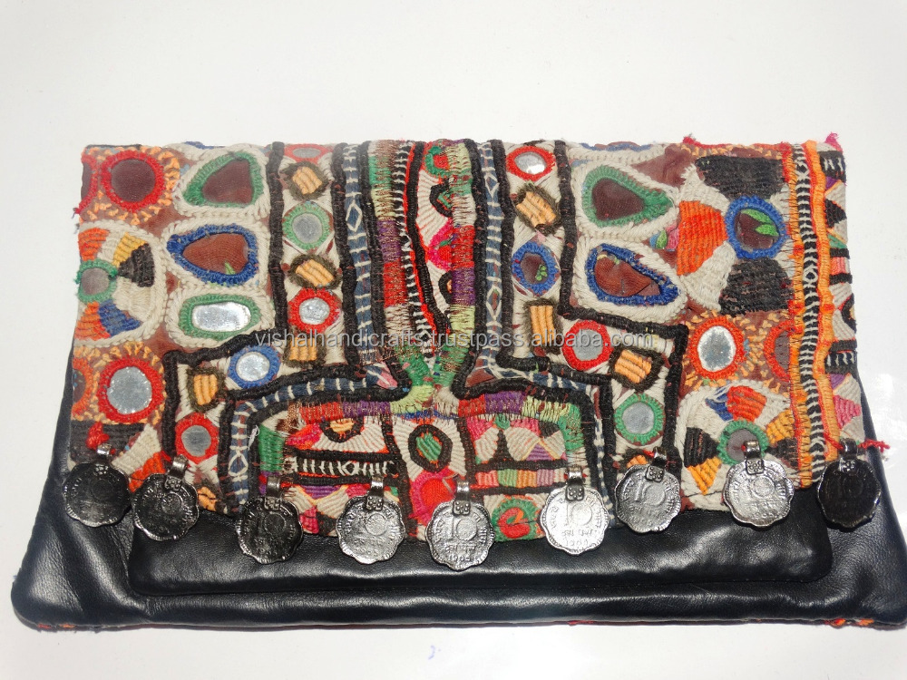 Ethnic banjara ladies Purse Vintage Tribal handmade leather purse boho purse Hippie clutch bag