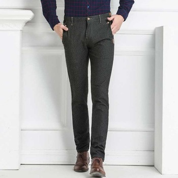 430b60d0877 2017 Spring New Men s Gray Business Casual Pants Regular Fit Chino Pants  For Men Formal Wear