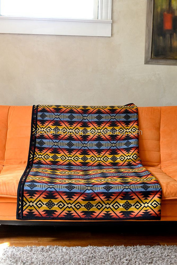 Best 100 % wool Americian style pattern new arrival in market young indian choice Fringe Velvet Throw blanket for sale.