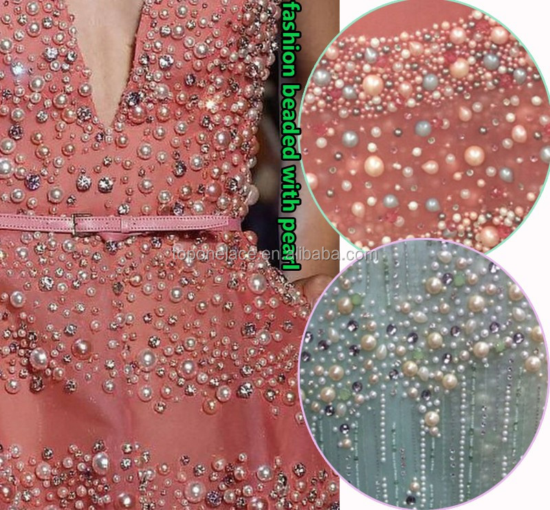 Wholesale fashion lace material hand beaded