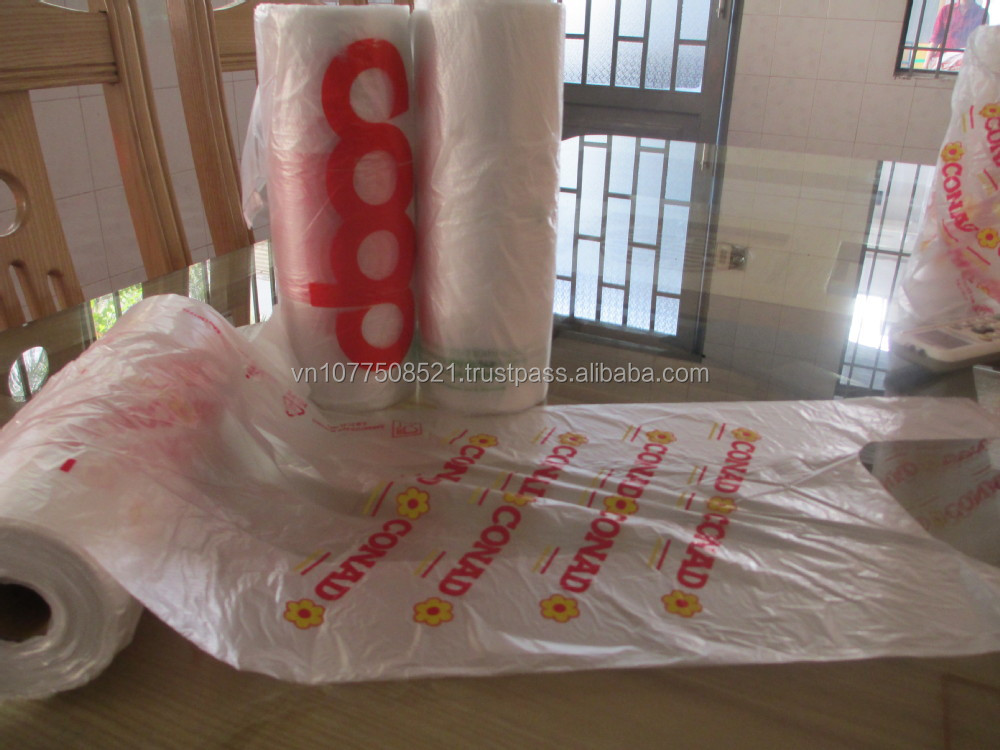 HDPE virgin T-shirt Plastic Bag on roll