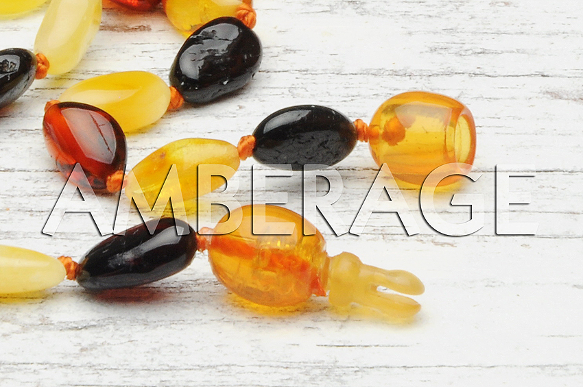 High Quality Natural Baltic Amber Baby Teething necklaces - BEANS cognac- dark cherry color