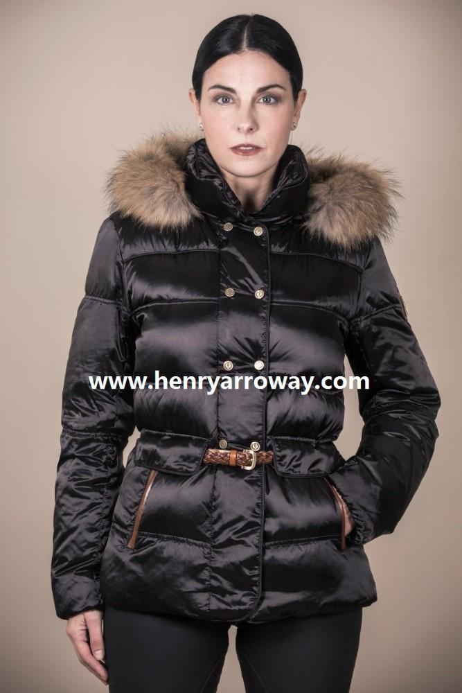 Alta calidad mujer plumas chaqueta con capucha de piel real de Henry Arroway  españa 1d52cd554329