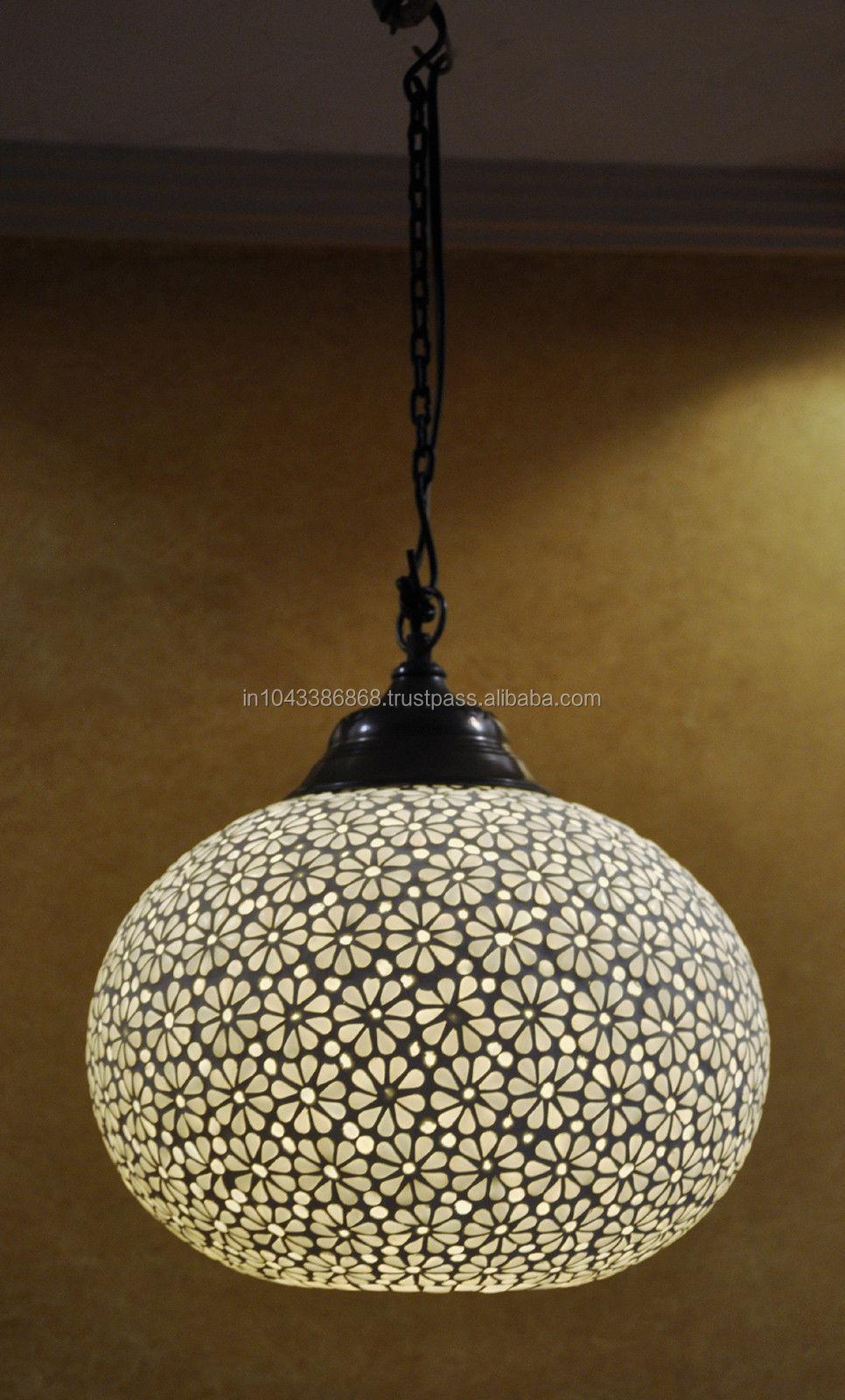 Elegant Indian Designer White Color Glass Ceiling Lamp,Wholesaler ...