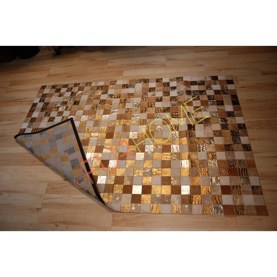 tappeto pelle di mucca patchwork multicolore oro-Tappeti-Id prodotto ...