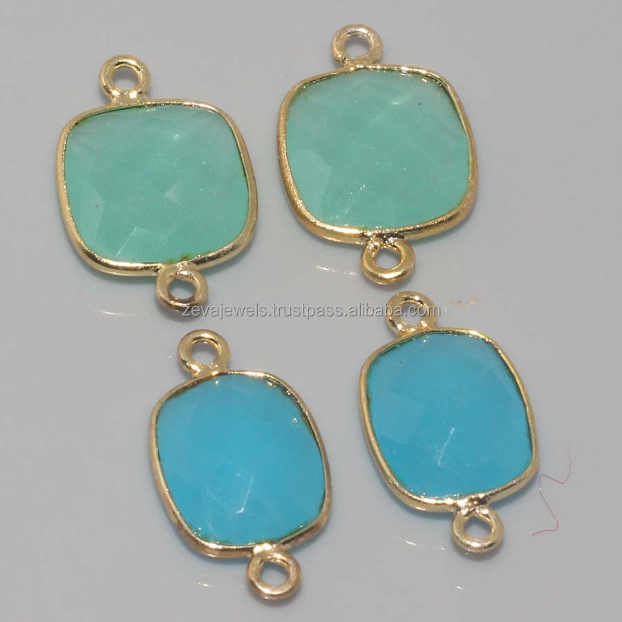 Lavish Blue Chalcedony & Aqua Chalcedony Gold Plated Gemstone Connectors Making Jewelry , Wholesale Fashion Connector A-454