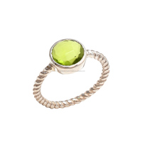 Peridot Quartz Faceted Sterling silver Ring Peridot Ring Gemstone Ring