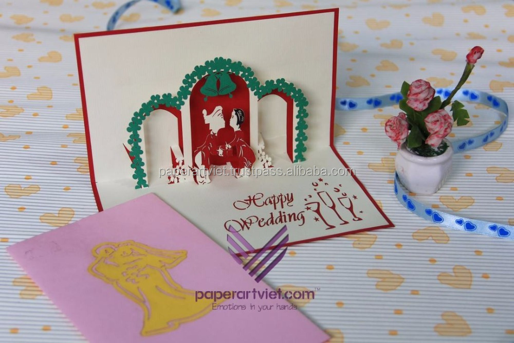 3d Pop Up Card Wedding And Bells,Happy Marriage