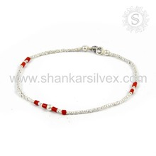 Gleaming Red Coral Bracelet Handmade 925 Sterling Silver Jewelry Supplier