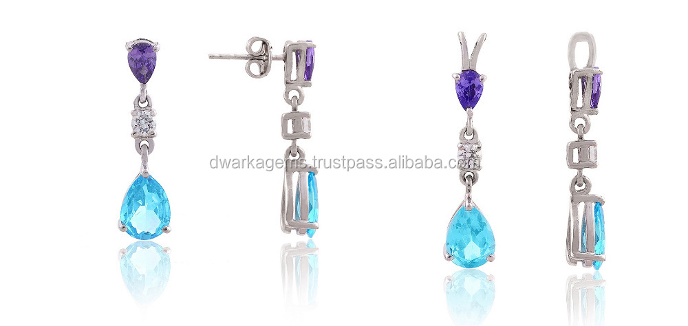925 Sterling Silver Earrings Pendant Jewelry Set Studded in Natural African Amethyst and Natural Blue Topaz