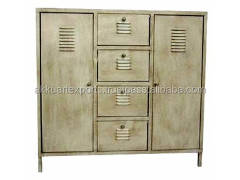 Vintage Iron Storage Cabinet School Office