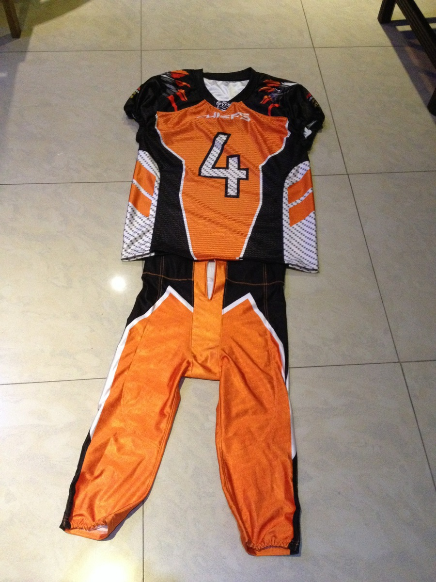 American football uniforms set