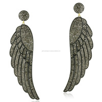 Angel Wing Shaped Pave Diamond 18k Gold Dangle Earrings 925 Sterling Silver Jewelry
