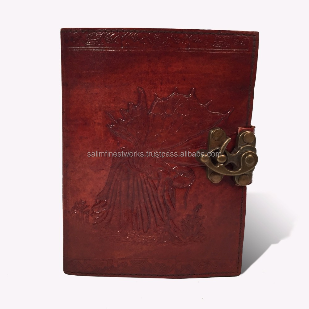 Travel Diary Notebooks to Write in Blank Fate Fairy Embossed Leather Art Sketchbook, Pages Lite Brown