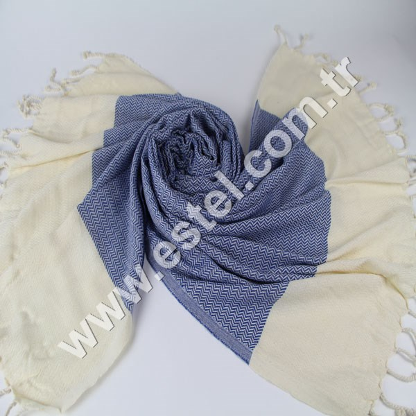20 cm Wavy Towel Royal Blue and Natural Handmade Cotton Turkish Towel Beach Bath Spa Yacht Gym Peshtemal Sarong Hammam