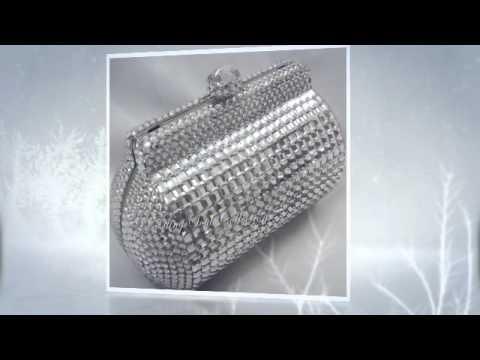 SILVER SECRET BOX SWAROVSKI CRYSTAL CLUTCH PURSE
