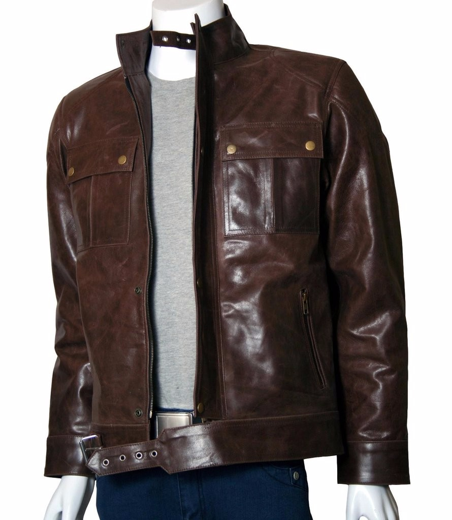 Fashion Leather Jacket: Autumn Outerwear Pure Leather Jacket Brown ...