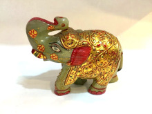 Handcrafted Grüne <span class=keywords><strong>Jade</strong></span> Edelstein Painted Elephant <span class=keywords><strong>Statue</strong></span> Made in Indien