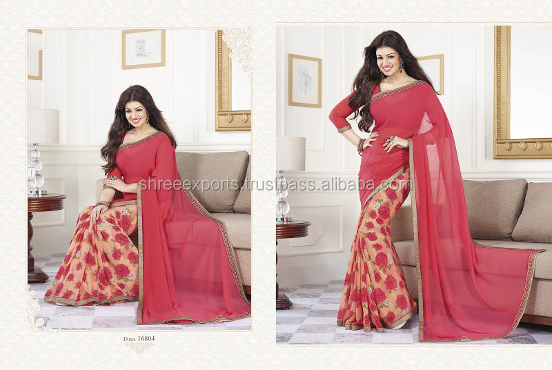 Ayesha Takia Hot Pink Georgette Saree