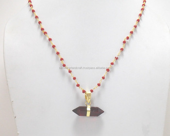 Red garnet pendants with beaded rosary chain point pencil pendants red garnet pendants with beaded rosary chain point pencil pendants aloadofball Image collections