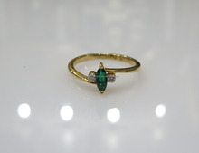 Emerald Diamond Gold Ring 14K 0.05cts Dia 1.80gms Gold