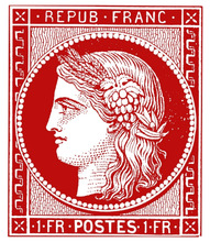 RARE STAMP FRANCE 07 CERES 1Fr vermillon