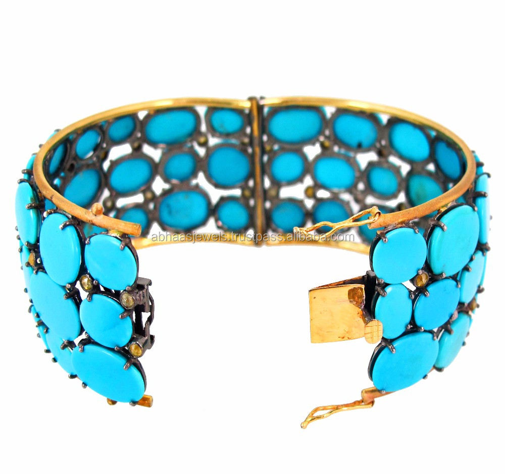 14k Yellow Gold Turquoise Bangle 925 Silver Bezel Set Diamond ...