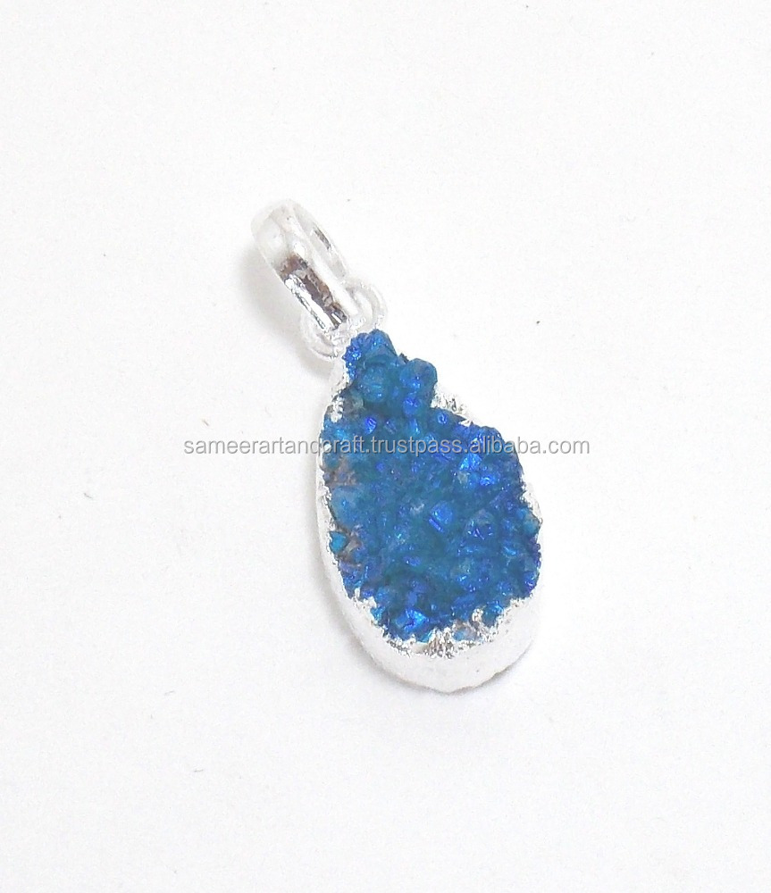 Electroplated Natural Light Blue Druzy 12X20 mm Pear Silver Plated Gemstone Pendant