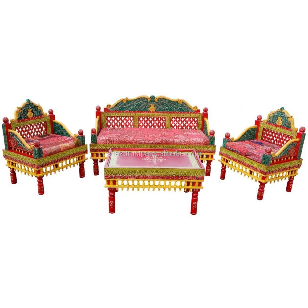 Traditional Sofa set , Pakistani colorful couch set , Antique style Living room sofa sets