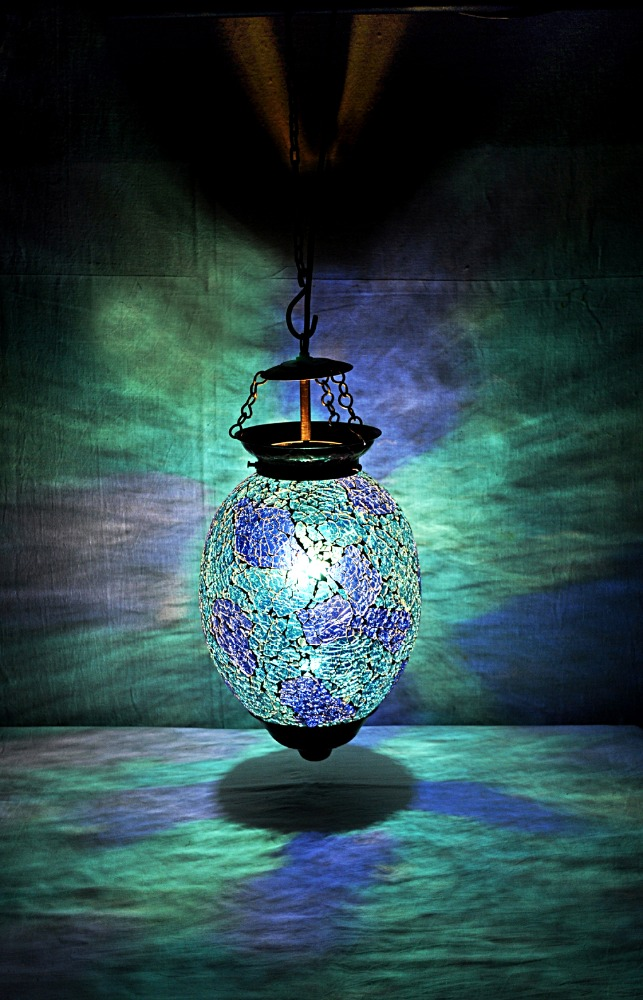 Whole Indian Hanging Lamps Blue Color Glass Ceiling Lamp Modern Led Antique On