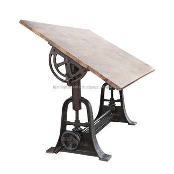 Professional Vintage Industrial Drafting Table Wooden Top Height Adjustable  Manufacturer Wholesale Supplier