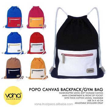 3b0b32b1713a OEM Bali Wholesale Canvas Drawstring Bag School Backpack Rucksack Gymbag Designer  Handbag Unisex (POP)